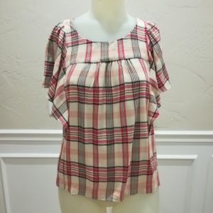 Maeve plaid butterfly sleeve blouse